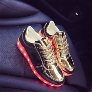 7 Colors Kid Luminous Sneakers - Gold 1 / 1 - LED Shoes