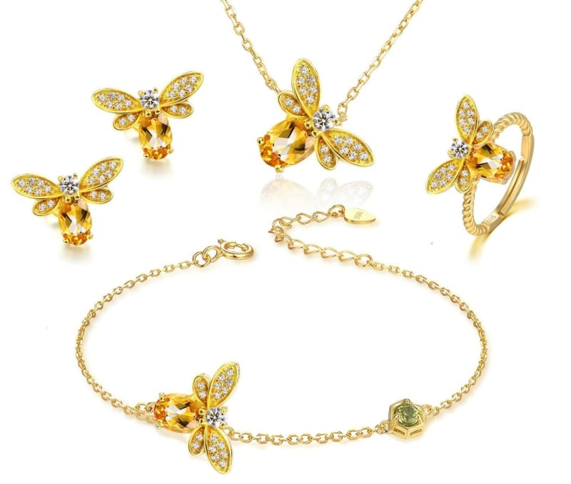 925 Silver Honey Bee Ring Jewellery Sets - Yellow - Jewelry Sets