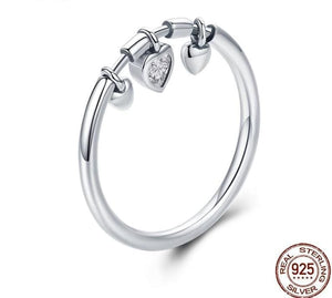 925 Sterling Glittering Silver Heart Ring - 6 - Engagement Rings