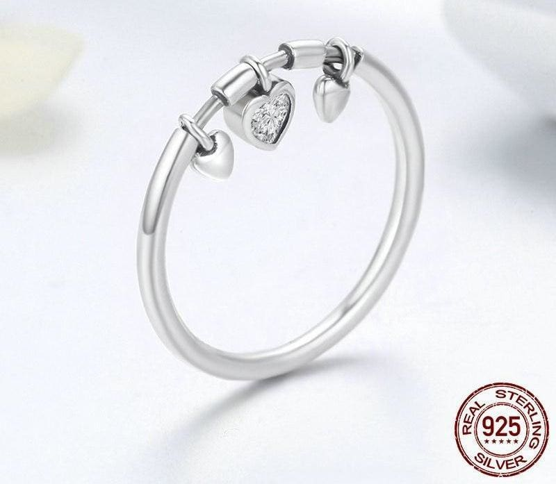 925 Sterling Glittering Silver Heart Ring - Engagement Rings