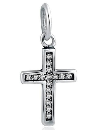 925 Sterling Silver Charms Beads - Cross Charm - Beads