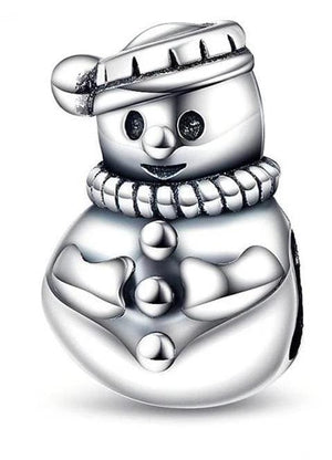 925 Sterling Silver Charms Beads - Snow Man Charm - Beads