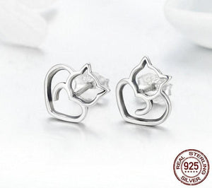 925 Sterling Silver Cute Cat Stud Earrings ( sterling silver charms ) Stud Earrings