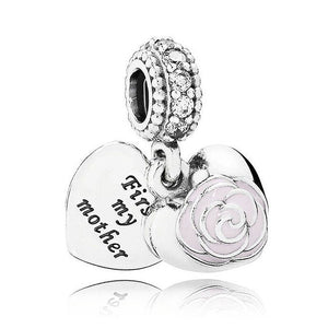 925 Sterling Silver Love heart Bead charm - 2 - Charms