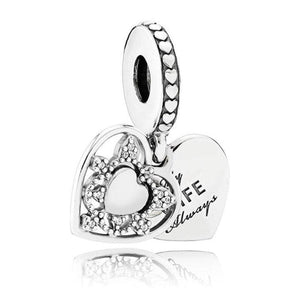 925 Sterling Silver Love heart Bead charm - 5 - Charms