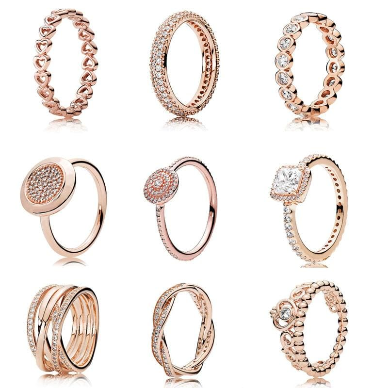 925 Sterling Silver Rose Gold Timeless Elegant Rings - Rings