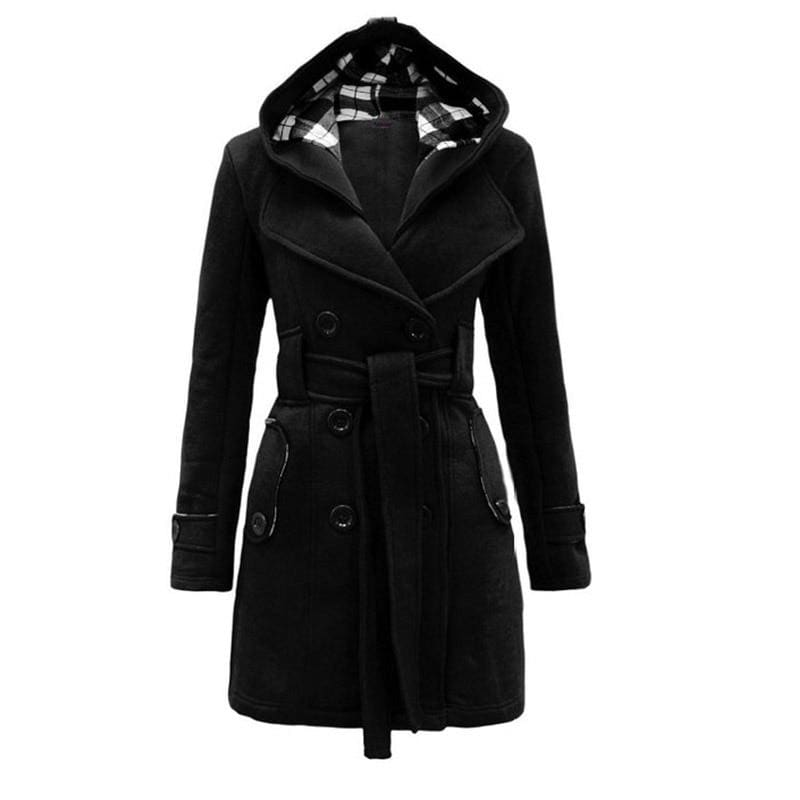 Amazing Double Breasted Hooded Coat - Black / L - Wool & Blends