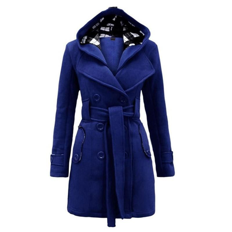 Amazing Double Breasted Hooded Coat - Blue / L - Wool & Blends