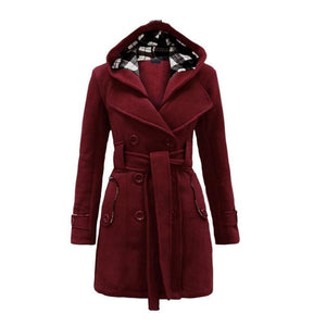 Amazing Double Breasted Hooded Coat - Burgundy / L - Wool & Blends