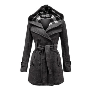 Amazing Double Breasted Hooded Coat - Gray / L - Wool & Blends