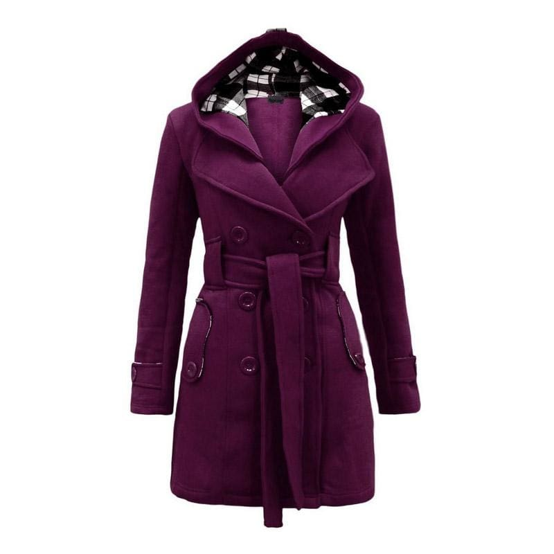 Amazing Double Breasted Hooded Coat - Purple / L - Wool & Blends