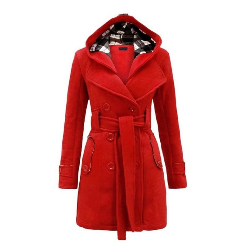 Amazing Double Breasted Hooded Coat - Red / L - Wool & Blends