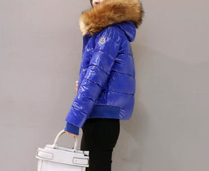 Amazing Fur Hooded Jacket - Blue / S - Parkas