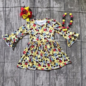 Autumn Party Dress with Accessories - Dresses