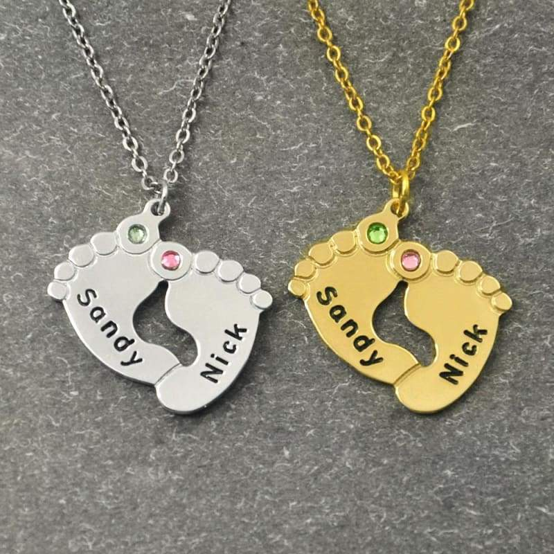 Baby Feet Necklace with Birthstone - Pendant Necklaces