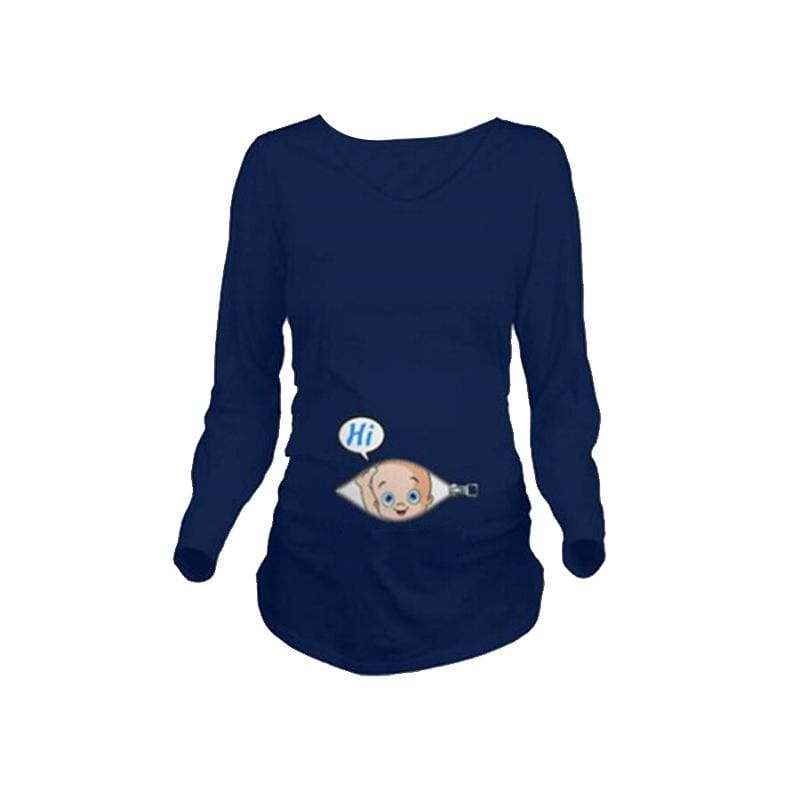 Baby Looking Out Maternity Tops - Blue L - Tees