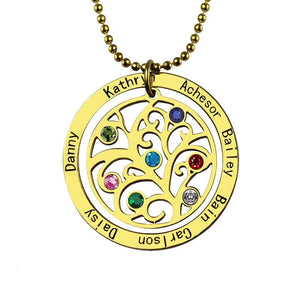 Birthstone Family Tree Necklace - Gold-color - Pendant Necklaces
