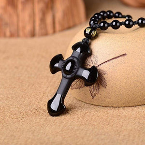 Black Obsidian stone Cross Necklace - Pendants