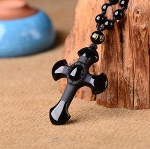 Black Obsidian stone Cross Necklace - With black chain - Pendants