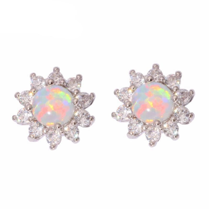 Amazing Blossom Opal Studs - Silver / White - Stud Earrings