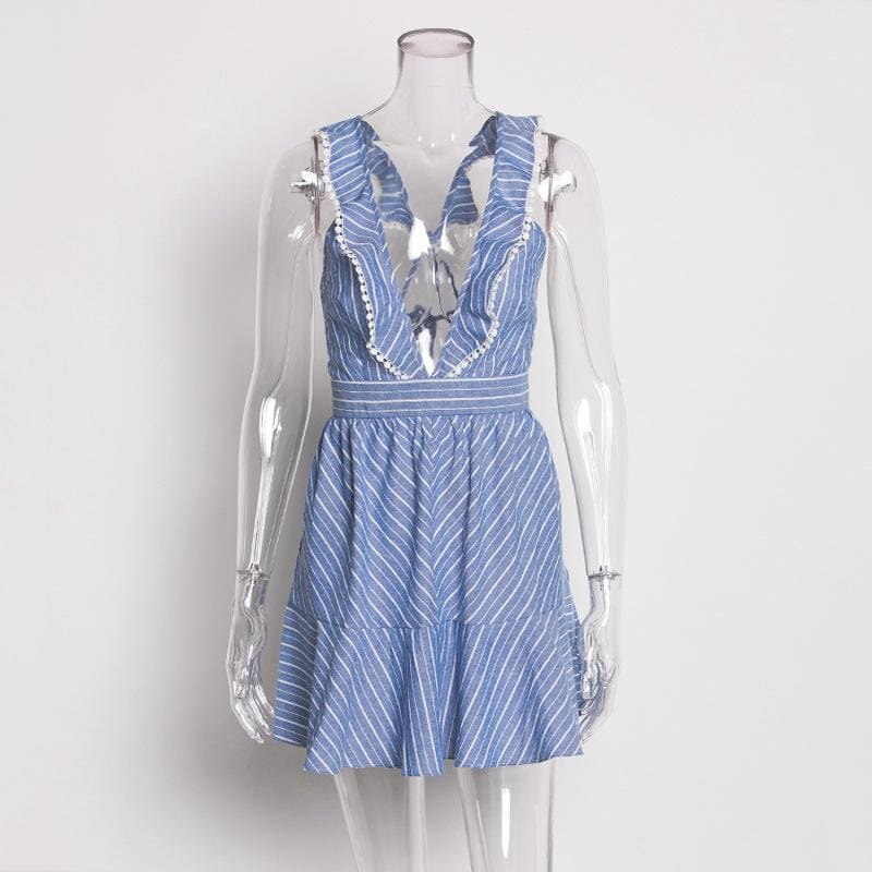 Blue Stripes Casual Ruffles V Neck Dress - Dresses