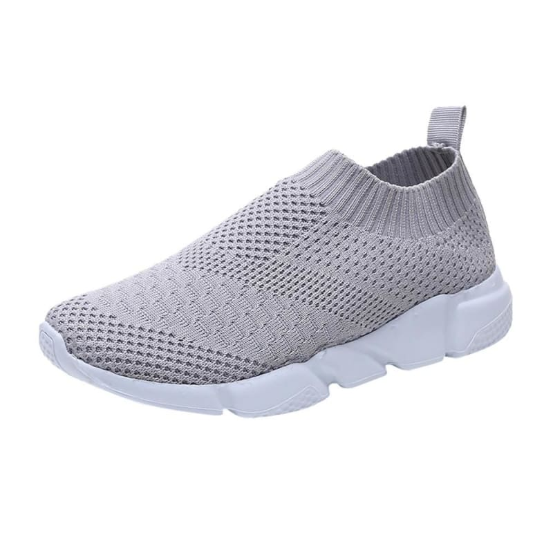 Breathable Elastic Cloth Slip On - Gray / 36 - Womens Flats