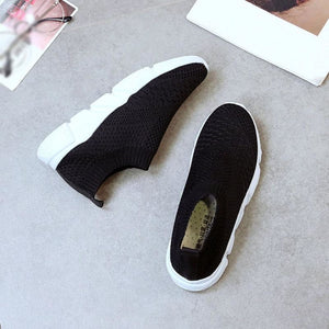 Breathable Elastic Cloth Slip On - Womens Flats