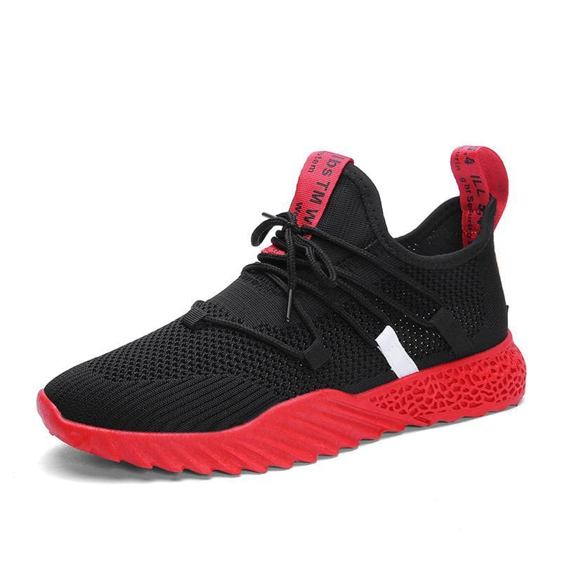 Breathable Mesh Shoes Sneakers - Black red / 7 - Shoes Sneakers