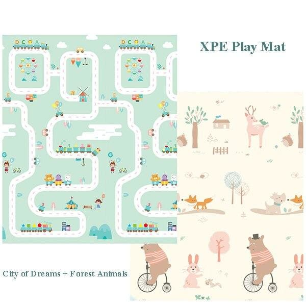 Carpet Children Anti-skid Game Mat - city and Bear / 180X200CM 70X78IN - Children Mat
