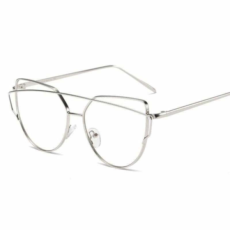 Cat Eye vintage Sunglasses - 6627 silver clear - Sunglasses