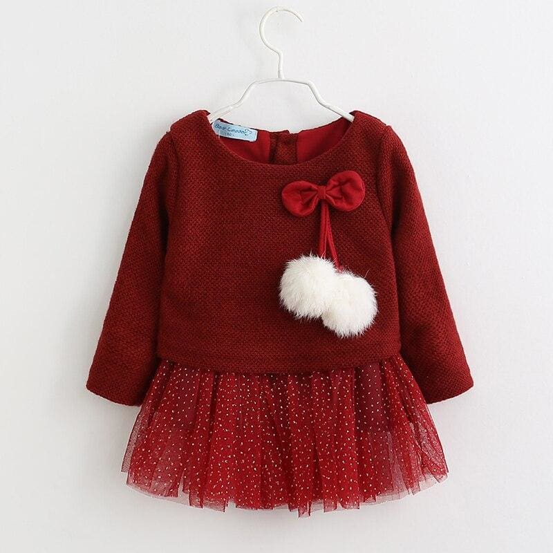 Christmas Baby Dress - AX056 Wine Red / 24M - Dresses
