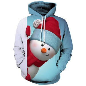 Christmas Hoodie Kangaroo Pocket Snowman - LIGHT BLUE / 2XL - Christmas Hoodies
