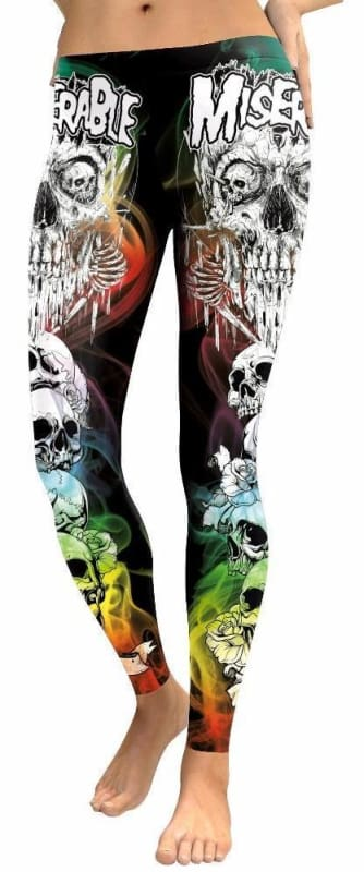 Colorful punk skull leggings - L - Leggings