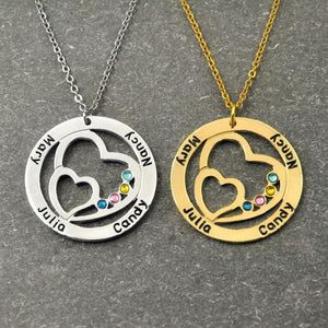 Couples Name Pendant with Birthstone - Gold color / 16 inches - Pendant Necklaces
