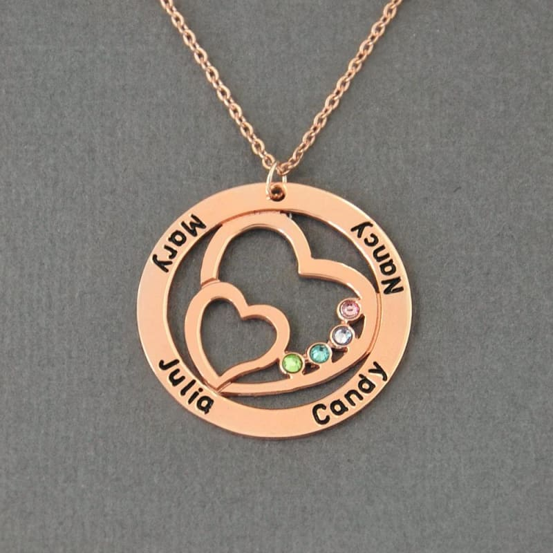 Couples Name Pendant with Birthstone - Pendant Necklaces