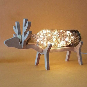 Creative Wood Deer Lamp - Gray / Button Switch - Night Lights