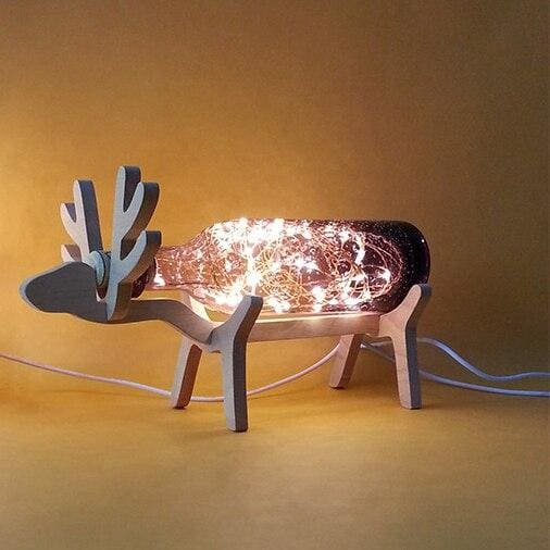 Creative Wood Deer Lamp - Purple / Button Switch - Night Lights