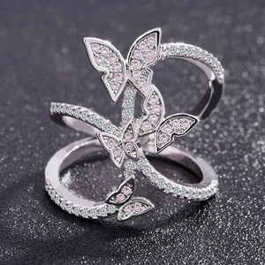 Crystal Studded Butterfly Ring - 10 - Rings
