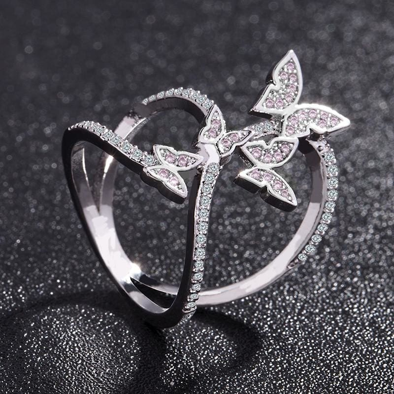 Crystal Studded Butterfly Ring - Rings