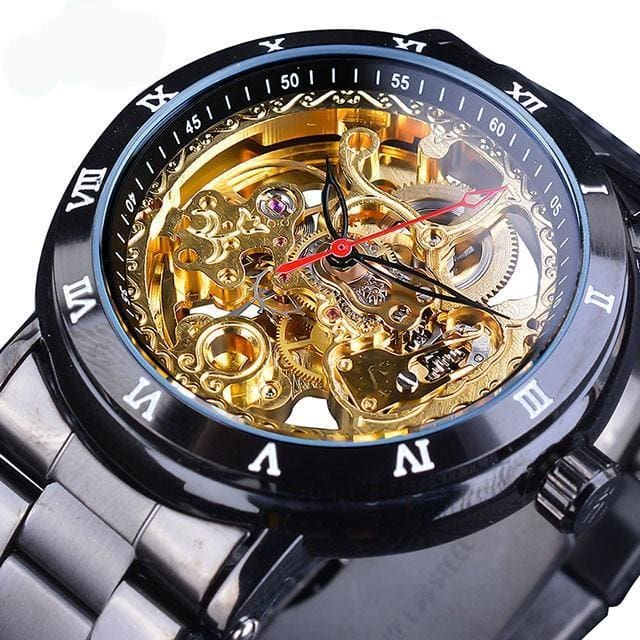 Diamond Mechanical Wrist Watch - Black Gold - Mechanical Watches