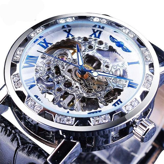 Diamond Mechanical Wrist Watch - Blue - Mechanical Watches