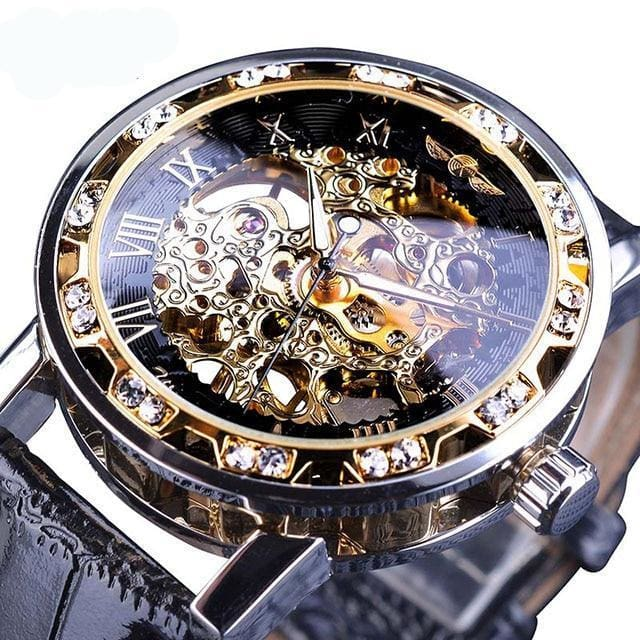 Diamond Mechanical Wrist Watch - Gold - Mechanical Watches