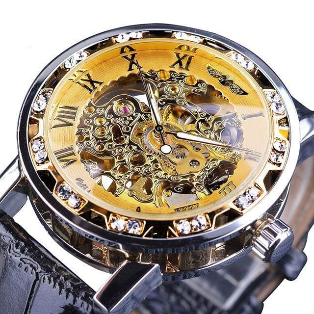 Diamond Mechanical Wrist Watch - Yellow - Mechanical Watches