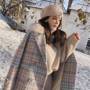Double Breasted Woolen Coat Just For You - Pink / M - Woolen Coat