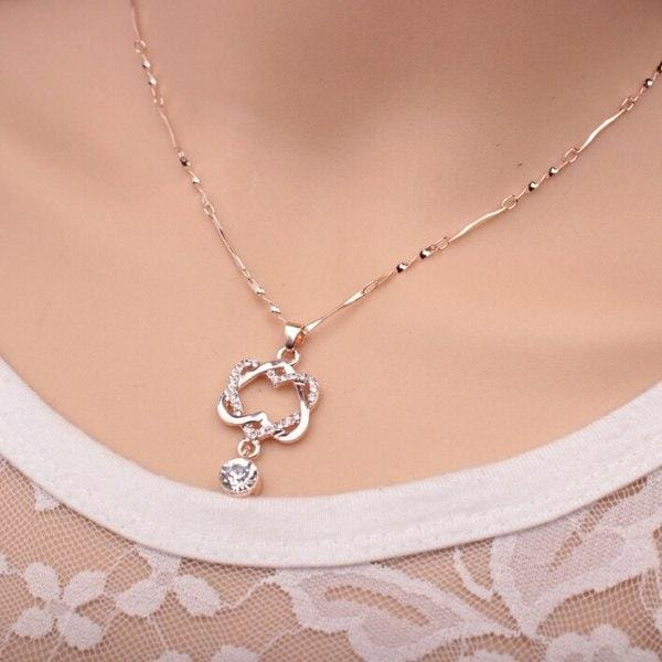 Double Heart Rose Gold Pendant - Rose Gold - Pendant Necklaces
