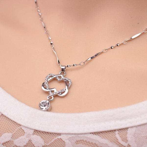 Double Heart Rose Gold Pendant - Silver - Pendant Necklaces
