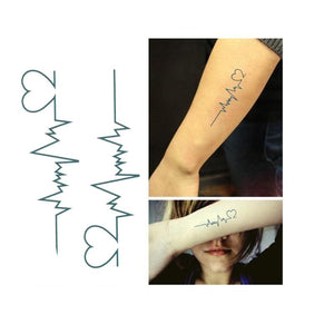 ECG Love Tattoos Just For You - Temporary Tattoos