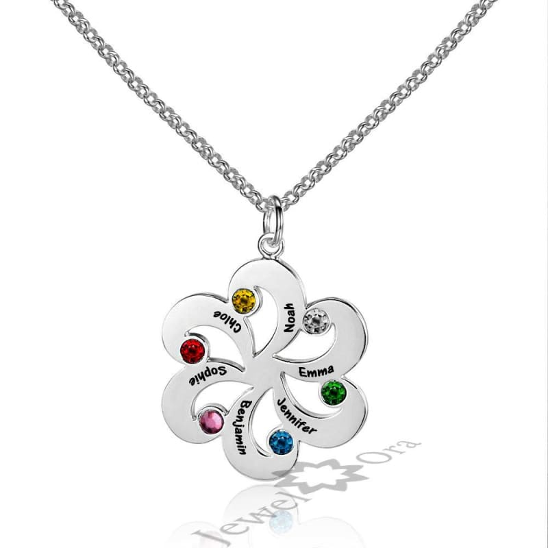 Family Jewelry Personalized 925 Sterling Silver Birthstone Flower Necklace - Silver - Pendant Necklaces