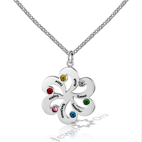 Family Jewelry Personalized 925 Sterling Silver Birthstone Flower Necklace