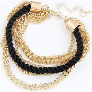 Fashionable Rope Chain Decoration Bracelet - black - Charm Bracelets